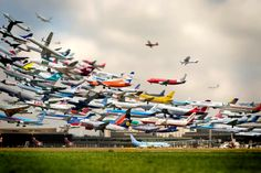 Photographic artistry of multiple takeoffs at Hannover Airport.