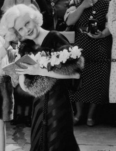 Jean Harlow outside Grauman's Chinese Theater on Hollywood Boulevard, 1933