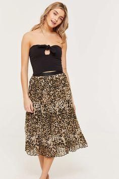 b1c45bd962 Pleated Chiffon Leopard Print Midi Skirt - Clothing | Ardene Printed Maxi  Skirts, Midi Skirt