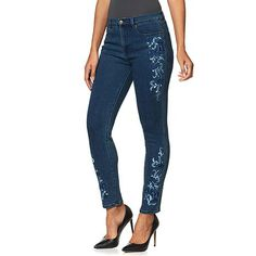 Shop DG2 by Diane Gilman SuperStretch Embroidered Floral Skinny Jean - Midtone 8239714, read customer reviews and more at HSN.com.