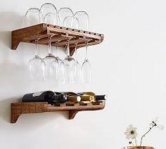 Wine Glass Shelf, Wine Glass Storage, Wine Rack Wall, Wine Wall, Wine Glass Holder, Glass Shelves, Bottle Holders, Wine Racks, Wine House