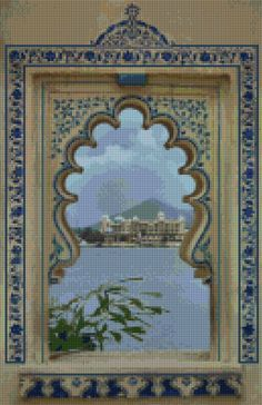 Window to India landscape Cross Stitch pattern PDF - Instant Download! by PenumbraCharts on Etsy