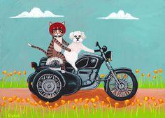 Arte de gato California amapolas paseo de motos Original perro y gato arte…