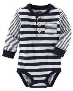 Baby Boy Multi-Stripe Henley Bodysuit | OshKosh.com