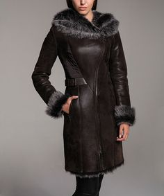 Another great find on #zulily! Brown Hood Shearling Coat #zulilyfinds
