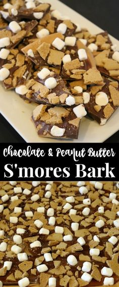 This quick & easy S'mores Bark recipe has all the fun flavors of s'mores + peanut butter! This no-bake Chocolate Peanut Butter S'mores Bark recipe uses only 5 ingredients and comes together in minutes! Quick and easy chocolate dessert recipe.