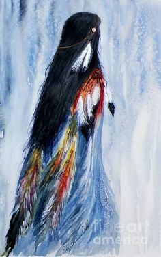 Native American Painting - Angel Woman by Elizabeth Webb Native American Paintings, Native American Pictures, Native American Beauty, American Indian Art, Native American Indians, Native American Drawing, Native American Artists, Cherokee Indian Art, Native American Decor