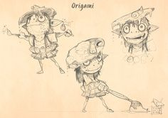 Origami-first sketch, Davide Tosello on ArtStation at https://www.artstation.com/artwork/Aq3LN
