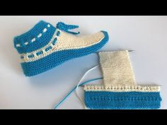 Men and women easy boots booties (booties models) / booties samples knitting easy / knitting socks crochet Gestrickte Booties, Knitted Booties, Knitted Slippers, Knitting Videos, Easy Knitting, Knitting Socks, Crochet Socks, Knit Crochet, Crochet Baby Shoes