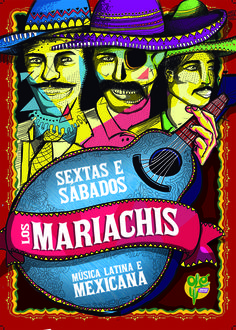 Cartaz Los Mariachis - Restaurante Olé Armazém Mexicano #skull #illustration #color