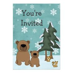 Winter Bears Woodland Baby Shower Invitation! Make your own invites more personal to celebrate the arrival of a new baby. Just add your photos and words to this great design.
