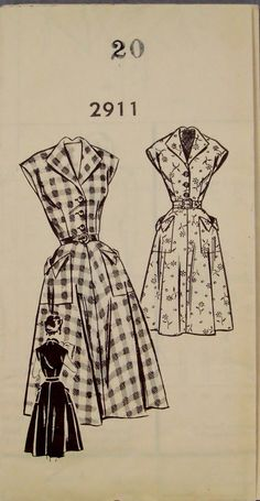 Vintage 1950 Classic Cap Sleeved Dress Pattern 2911 by knightcloth, $9.95--the shape of the collar in the back is interesting