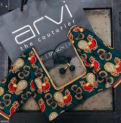 Peacock themed Aari / maggam work blouse designs for silk sarees – Fascinate Blouses Choli Blouse Design, Silk Saree Blouse Designs, Bridal Blouse Designs, Brazilian Embroidery Stitches, Designer Blouse Patterns, Boutique Design, Hand Embroidery Designs, Work Blouse, Fashion Blouses
