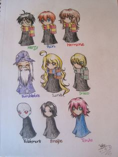 A few Harry Potter characters drawn in chibi style, as requested by many of my…