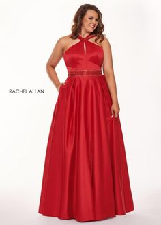 Style 6674 from Rachel Allan Curves is a high collar sleevele3ss matte satin plus size prom gown with keyhole bodice and open strappy back and embellished waistband.