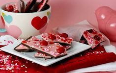"Confessions of a Cookbook Queen's chocolate cherry bark is inspired by chocolate cherry M&Ms and will disappear faster than you can say ""Happy Valentine's Day!"" Source: Confessions of a Cookbook Queen"