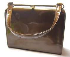 Vintage 1950s Patent Leather Handbag Bronze/Brown Vintage