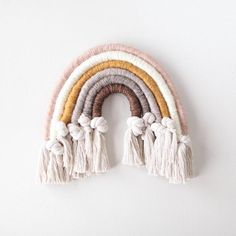Neutral and Knotted Rainbow Fiber Arch Wall Hanging