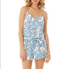 Lilly Pulitzer Shape Up Ship Out romper Size small flawless condition. Will also trade for another Lilly romper. CHEAPER ON MERC! 100% rayon runs a little small Lilly Pulitzer Dresses Mini