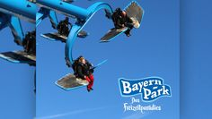 2016 lässt der Bayern Park abheben: Die Neuheit wird eine Sky Fly-Attraktion, mit der man individuell bestimmen kann, wie rasant die Fahrt wird. Alle Details: http://www.parkerlebnis.de/bayern-park-neuheit-2016-duell-der-adler_18239.html