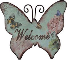 Welcome Butterfly Magnet - Kruenpeeper Creek Country Gifts