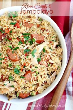 Rice Cooker Chicken and Sausage Jambalaya: Classic Cajun jambalaya with chicken and sausage, conveniently made in your rice cooker. Aroma Rice Cooker, Rice Cooker Recipes, Rice Recipes, Recipies, Sweets Recipes, Pork Recipes, Crockpot Recipes, Yummy Recipes, Dinner Recipes