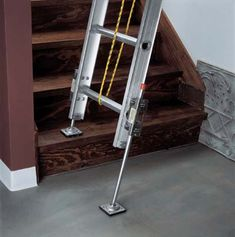 and Accessories Dealer - - Ladder Leveler Our ladder leveler makes working on uneven surfaces safer. Attach one on each side of ladder and adjust to needed height for stability. Cool Tools, Diy Tools, Ladder Leveler, Ladder Accessories, Blacksmith Tools, Homemade Tools, Scaffolding, Diy Garage, Tool Organization