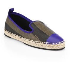 Fendi Junia Striped Leather Espadrille Flats (625 CAD) ❤ liked on Polyvore featuring shoes, flats, apparel & accessories, leather espadrille flats, leather flat shoes, cap toe shoes, flat shoes and flat pumps