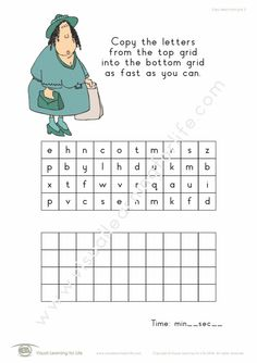 """In the """"Copy Letters From Grid"""" worksheets, the student must copy the letters from the top box to the bottom box as quickly as they can. Learning For Life, Visual Learning, Figure Ground Perception, Occupational Therapist, Comprehension, Reading, Integrity, Worksheets, Grid"""