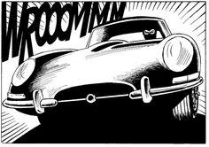 The Perfect Anti-hero: Diabolik and the Jaguar E-Type Jaguar Type E, Type Illustration, Diabolik, Automotive Art, Pop Art, Classic Cars, Sketches, Drawings, Prints