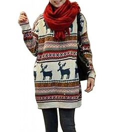 Minetom Damen Rudolph Rentier Druck Weihnachtspullover Winter Gestrickt Lang Pullover Oversize Sweater Minetom http://www.amazon.de/dp/B00QGXUAQY/ref=cm_sw_r_pi_dp_D43pwb1WXY9MX