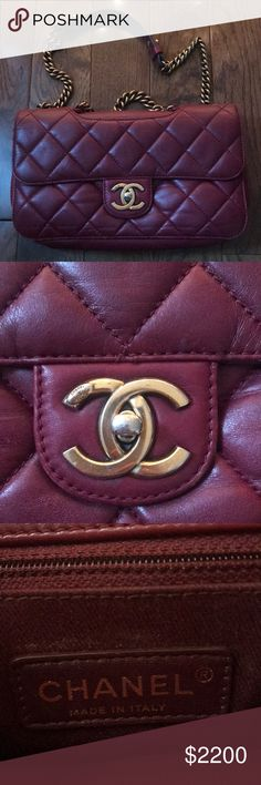 6a7a04ec5eb2 Burgundy CHANEL bag with chain details This bag is STUNNING. Gorgeous  burgundy CHANEL bag with