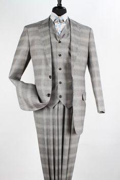 1930s style wide fit mens plaid suit. Mens 3 piece High Fashion Suit - Fancy Plaid Grey Taupe $199.00 AT vintagedancer.com