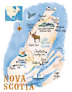 Nova Scotia map by Scott Jessop, April 2016 issue … East Coast Travel, East Coast Road Trip, Ottawa, East Coast Canada, Pvt Canada, Nova Scotia Travel, Canadian Travel, Canadian Rockies, Ontario