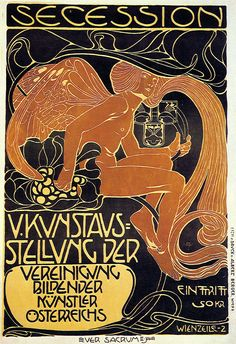 Koloman Moser, Fifth Vienna Succession Exhibition Poster, 1899, print on yellow paper