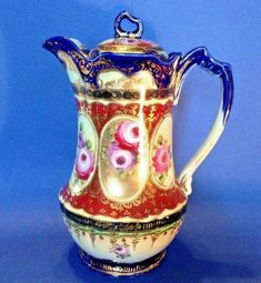 Nippon Chocolate Or Teapot - Ornately Hand Painted - Gold Beaded Moriage - Japan Porcelain Vase, Fine Porcelain, Chocolate Cups, Purple Roses, Tea Pots, Hand Painted, Things To Sell, Antiques, Vintage Teapots