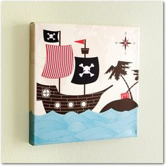 Non-personalized Wall Art Pirate Panorama - Front : Vanilla $69.99 @Katie Young.com  ~ #TinyPrintsBTS