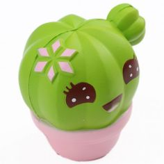 scented green cactus with a face food squishy