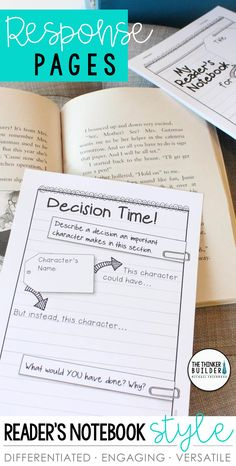 	Get students thinking deeply about their reading! A huge collection of response pages designed in an engaging notebook format. Use individually or create customized reader's notebook packets. Use with virtually any piece of literature. Differentiated at three levels. Common Core aligned. Perfect for guided reading, book clubs, and practicing key reading skills. (Gr 2-5) $