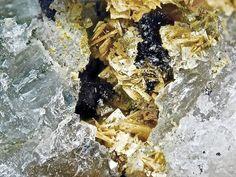 Hureaulite, Mn5(PO3OH)2(PO4)2•4(H2O), Silbergrube, Waidhaus, Oberpfalz, Bavaria, Germany.  Yellow tabular crystals. Fov 3 mm. Collection: Lithothek der Münchener Micromounter. Copyright: Bebo