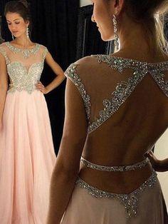 High Quality Chiffon Beaded Prom Dress,A-line Prom Dress,Scoop