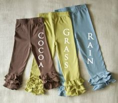 Swanky Baby Vintage ruffle leggings in Grass and Cocoa