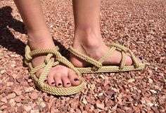 Handmade, All-Rope Sandals. Offers a Barefoot Feel! by Ropals Rope Sandals, Walking Barefoot, Thing 1, Style Classique, Look Plus, Beige Color, Designer Shoes, Classic Style, Knots