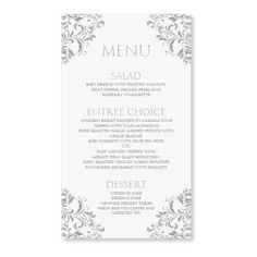 Wedding Menu Card Template - DOWNLOAD INSTANTLY - Edit Yourself - Nadine (Gray) 4 x 7 - Microsoft Word Format on Etsy, $8.00