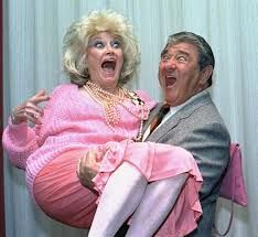 Comedian Phyllis Diller gets a lift from emcee Buddy Hackett prior to the celebrity stag luncheon roast at the New York Friars Club in New York City in this Oct. Classic Hollywood, Old Hollywood, Sandro, Buddy Hackett, Phyllis Diller, Silly Faces, Thanks For The Memories, Funny People, Funny Men