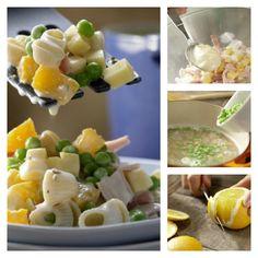 Erfrischender Salat für warme Sommertage: Fruchtiger Nudelsalat mit Schinken, Käse, Erbsen und Orangen | http://eatsmarter.de/rezepte/fruchtiger-nudelsalat