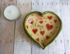 Valentine's Day gift Ceramic Love heart ring by potteryhearts