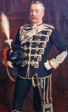 A portrait of Sir Charles Tertius Mander, Bt.1852-1929 in the full dress uniform of a Colonel of the Staffordshire Yeomanry in Levee Order,with sabretache in hussar style and holding the newly-introduced busby, painted in 1896.