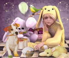Easter color - color, bunny, easter, dog, kid Easter Colors, Desktop, Bunny, Wallpaper, Kids, Home Decor, Young Children, Cute Bunny, Boys