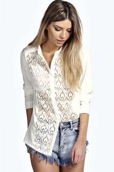 Sadie Crochet Trim Collarless Shirt alternative image